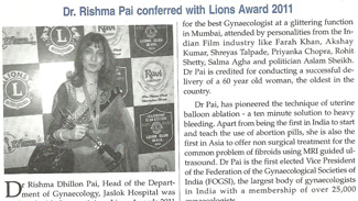 Dr. Rishma Pai conferred with Lions Award 2011
