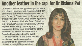Another feather in the cap for Dr. Rishma Pai