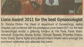 Lions award 2011 for the best Gynaecologist